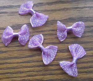 5 Violet Polka dot Ribbon Bows 3 cms wide by 2 cms depth