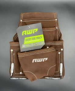 AWP Genuine Leather Suede Tool Pouch 10 Pockets with Steel Hammer Loops Brown
