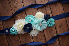 Flower Sash, Navy aqua Ivory sash , flower Belt, maternity sash