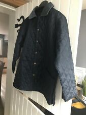 Barbour Navy Blue Quilted Jacket Coat Size Medium Liddesdale VGC