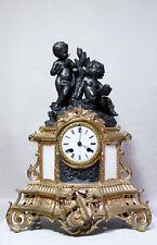 ANTIQUE 1845 FRENCH CLOCK STATUE CHERUBS MAKING MUSIC ROMANTIC