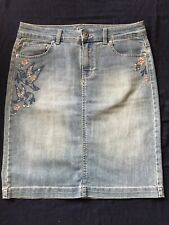 New NWOT Style & Co Embroidered Denim Skirt Size 6