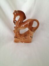 Vintage ~ Horse Figurine ~ Porcelain ~ Ceramic ~  Prancing ~ Brown ~ Glossy