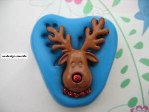 Christmas Rudolph Reindeer Silicone Mould/Mold Sugar Craft, Cupcake Toppers
