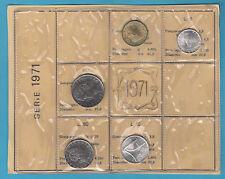 SET ITALIA DIVISIONALE 1971 5 PEZZI  FDC SIGILLATE FIOR DI CONIO PIEGHE + VERDE