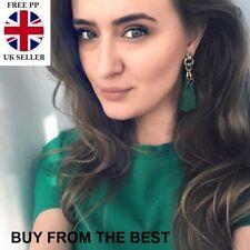 GREEN TASSLE EARRINGS TASSEL DROP DANGLE BOHO VINTAGE LOVE ISLAND LADIES GIFT
