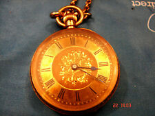 Ladies Fob Pocket Watch Antique 18k Gold Top Wind Working with 5 feet chain