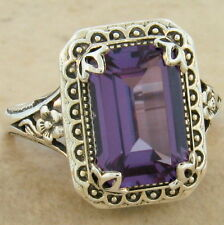 Color Changing Sim Alexandrite Antique Style 925 Silver Ring Size 4.75, #844