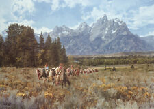 """In the Valley of the Grand Tetons"" Paul Calle Limited Edition Giclee Canvas"