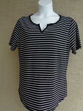 NEW Just  My Size S/S Notch Neck Striped Tee Top 3X  Black & White Stripe