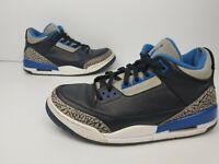 Nike Air Jordan 3 III Retro Sport Blue Black Wolf Grey 136064 007 Men's 9.5