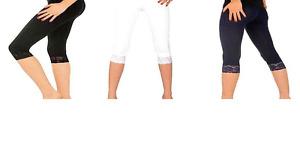 Girls 3/4 Cropped Leggings Lace Trim Cotton Indigo Blue with Purple Size 3-13