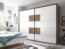 Kleiderschrank Schwebetürenschrank Schlafzimmer CAMERON Dekor Eiche weiß 270 cm