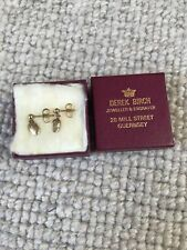 Authentic Gold Pierced Stud Earrings Coffee Bean Droplets Guernsey Jeweller