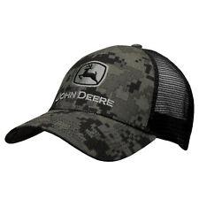 John Deere Hat, John Deere Cap, Trucker hat. 13080407. NWT. Black Camo/ Black