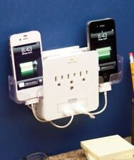 SMARTPHONE CHARGING STATION DELUXE SURGE PROTECTOR USB IPHONE DOCK POWER OUTLET