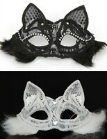 Adult Fox Cat Animal Fluffy Fur Halloween Fancy Lace Face Mask Cover Dress up