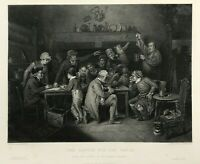 c1852 Antique print THE RAFFLE FOR THE WATCH by Bird original steel engraving