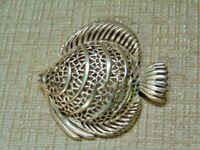Vintage Large Monet Gold Tone Angel Fish Filigree Brooch Pin Signed