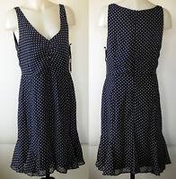 NEW NWT Kate Young Navy Blue Polka Dot Sleeveless V-neck Poly Chiffon Dress 14