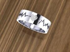 Heart-Beat Diamond Wedding Band Ring 14K White Gold 0.05 carats