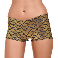 Women High Waist Sport Shorts Shiny Fish Scales Mermaid Print Panties Breathable