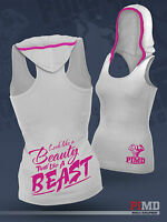 PIMD Women Vest With Hood - White Running Racer Back Gym Sports Top Workout Lift