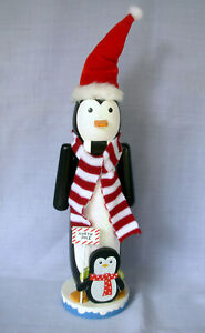Penguin Nutcracker 17 in wooden North Pole Santa Hat Scarf and baby Home Accents