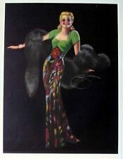 1944 Pin Up Girl Calendar by Billy DeVorss Blond Draped in Silver Fox