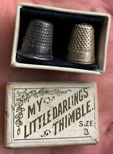 2 Antique Silver Thimble CHILDS Box Holder FOR A GOOD GIRL Sewing Miniature MINI