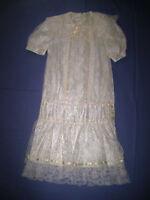 Vintage Gunne Sax Ivory Lace Short Sleeved Dropped Waist Dress Girls' size 10