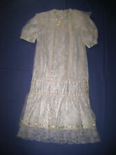 Vintage Gunne Sax Ivory Lace Short Sleeved Dropped Waist Dress Girls' size 10