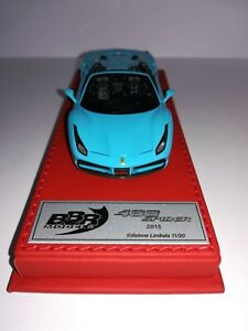 BBR CDL148 FERRARI 488 SPIDER GLOSS BABY BLUE LEATHER 1/43 RARE