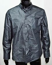 INC International Concepts Dress Shirt Mens M Metallic-Print Button-F Black NEW