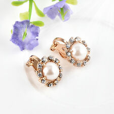 Luxury Clip On Cream Ivory Pearl & Rhinestone Crystal Round Stud Gold Earrings