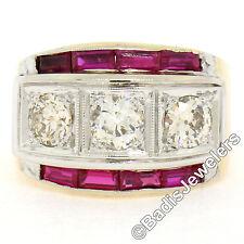 Herren Retro Vintage 14K Rose weiss gold 1.65ctw Diamant & Rubin breiter 3