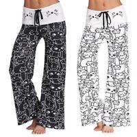 1x Women Casual Wide Leg Pants Cat Printed Drawstring High Waist Cotton Trousers