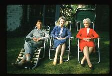 People Relax Lawn Chairs Lansdowne Drive Larchmont NY Vintage 1960 Slide Photo