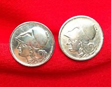 Vintage 1926 Ancient Greece Athena Warrior Helmet Armor Greek Coin Cufflinks!!