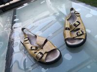 VITAFORM Damen Sommer Schuhe Comfort Sandalen Sandalette Gr.38 Lack Leder cognac