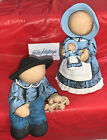 Lot (2) Vtg Hand Painted Ceramic Amish Faceless Children Statues w/ Toys 7.5""