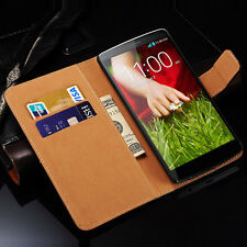 Genuine Real Leather Slim Wallet Case For Various LG Phones