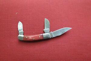 HAND MADE DAMASCUS THREE BLADE FOLDING POCKET KNIFE - Red Bone