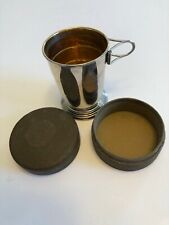 VINTAGE HOME INSURANCE COMPANY COLLAPSIBLE METAL CUP W/LEATHER CASE.