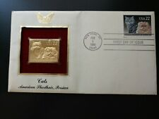 2/5/1988 Cats American Shorthair, Persian First Day Cover Gold Stamp Replica