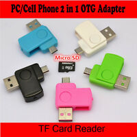 Black 2in1 Micro USB2.0 OTG Adapter + Micro SD TF Card Reader for Android Phones