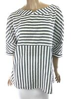 Eleventy Gray & White Stripe Top Blouse 3/4 Sleeve Cotton Size 10 Button Sleeve