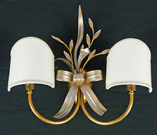 APPLIQUE LAMPADA DA PARETE FOGLIA ORO E ARGENTO PARALUME VENTOLINA ART.582 NUOVA