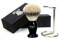 TOP GRADE SILVER TIP BADGER HAIR SHAVING BRUSH & STEEL BRUSH STAND / HOLDER SET
