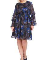 INC International Concepts Dark Night Floral Chiffon Blouson Dress Size 2X